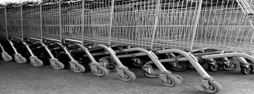 Shopping trolleys at UK supermarket