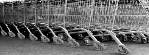 Shopping trolleys at UK supermarket