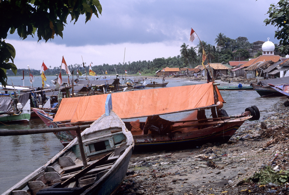 Fishing boats and mosque. Kaliande Sumatra