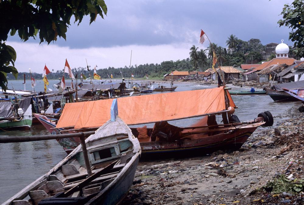 Fishing boats and mosque. Kaliande Sumatra