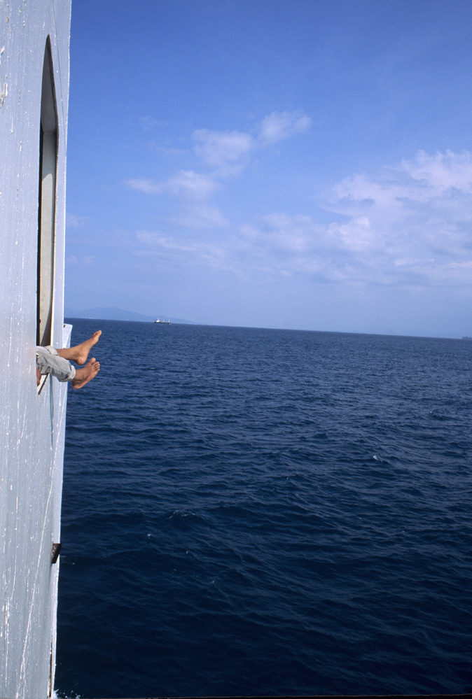 Crossing on the ferry from Sumatra to Java Indonesia