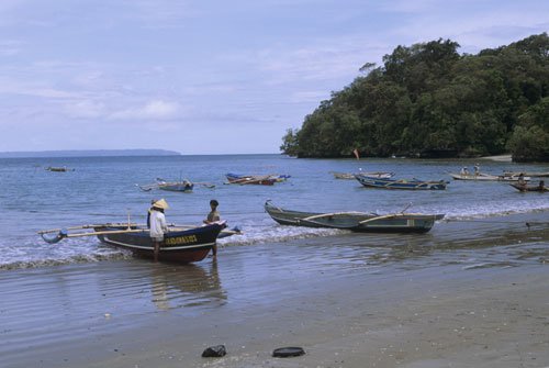 Fisherman and boats. Pangandrana, Java