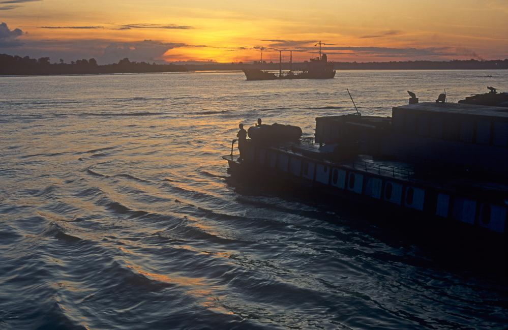 Sunset on the waterfront at Sibu, Sarawak, Borneo