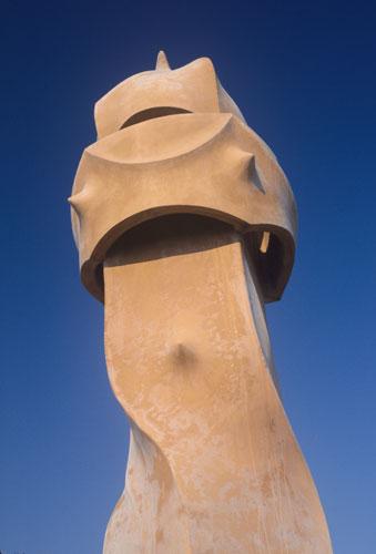 Gaudi's chimneys, La Pedrera, Casa Mila Barcelona, Spain