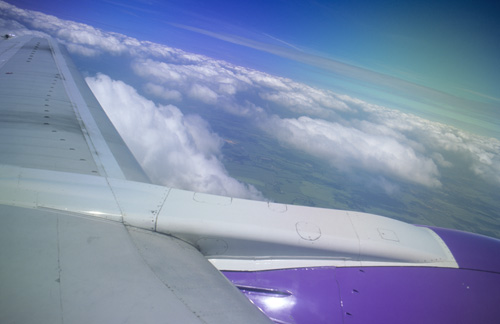 Flight above southern England, UK