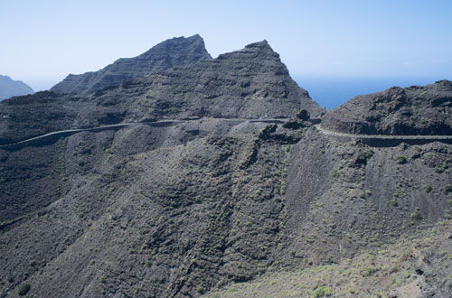 Road cut in to volcanic crater edge, Gran Canaria, Canary Islands