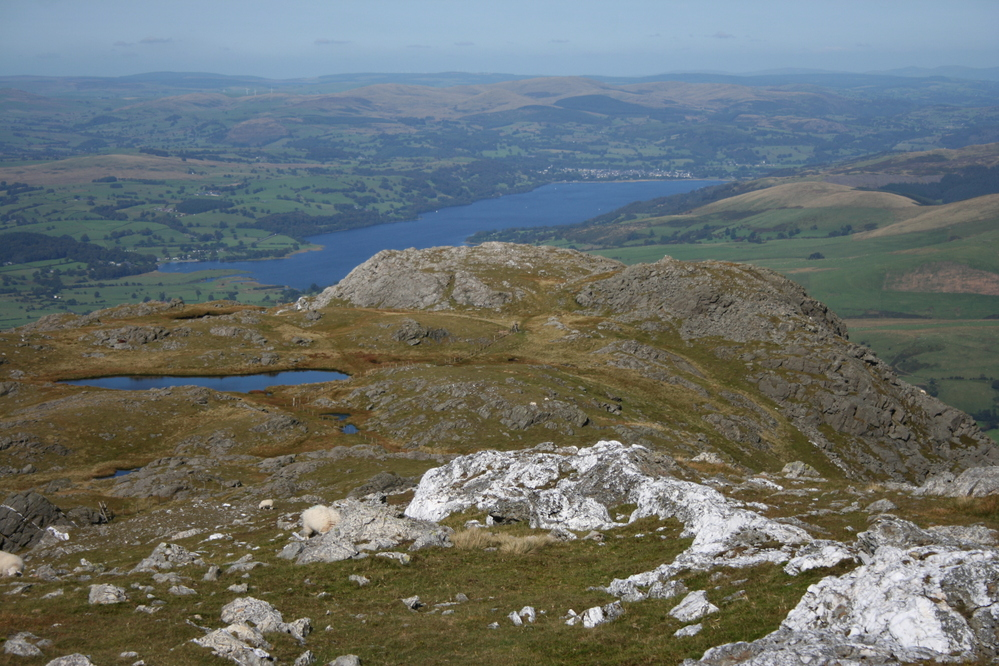 View to Bala from the summit of Aran Benllyn, Aran Mountains