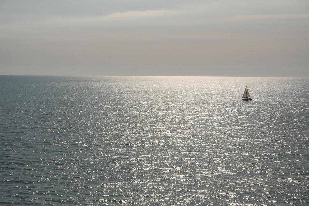 Sailing boat off the Aberystwyth coast