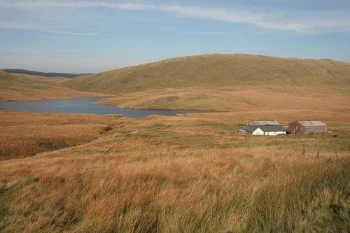 Farm at Nant-y-Moch reservoir Pumlumon Mountains
