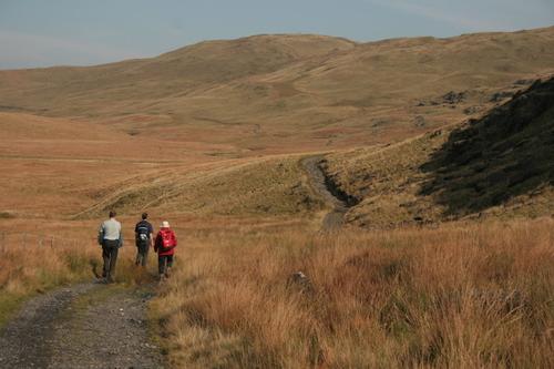 Walking towards the Pumlumon Mountains