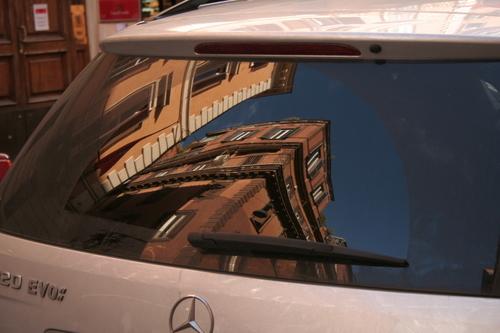 Reflection in car, Via del Corso, Rome, Italy