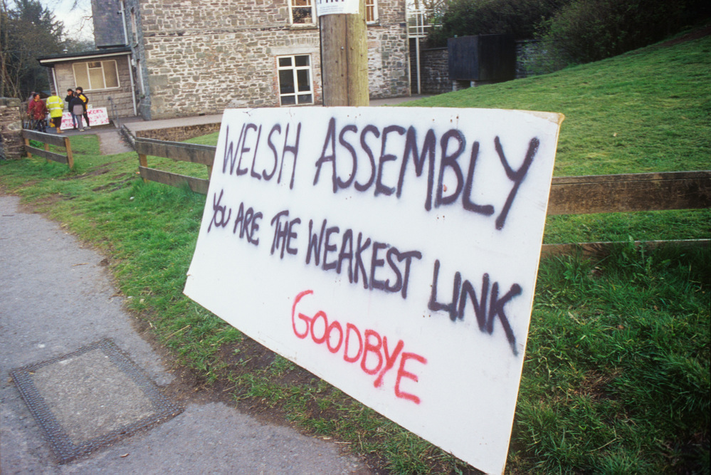 Welsh Assembly -You are the Weakest Link. Foot and Mouth demo.