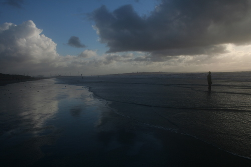 Beach at Crosby with some Gormley scrap metal