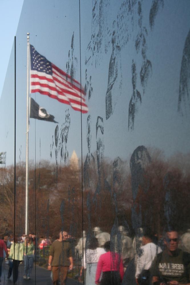 The Korean War memorial and Stars and Stripes, Washington DC