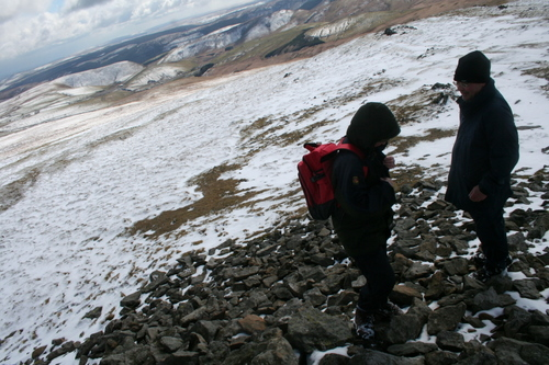 Walkers on summit of Plynlimon