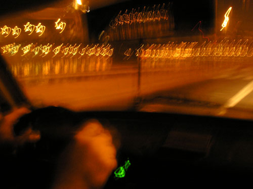 High speed driving in white Trabant, Budapest Hungary